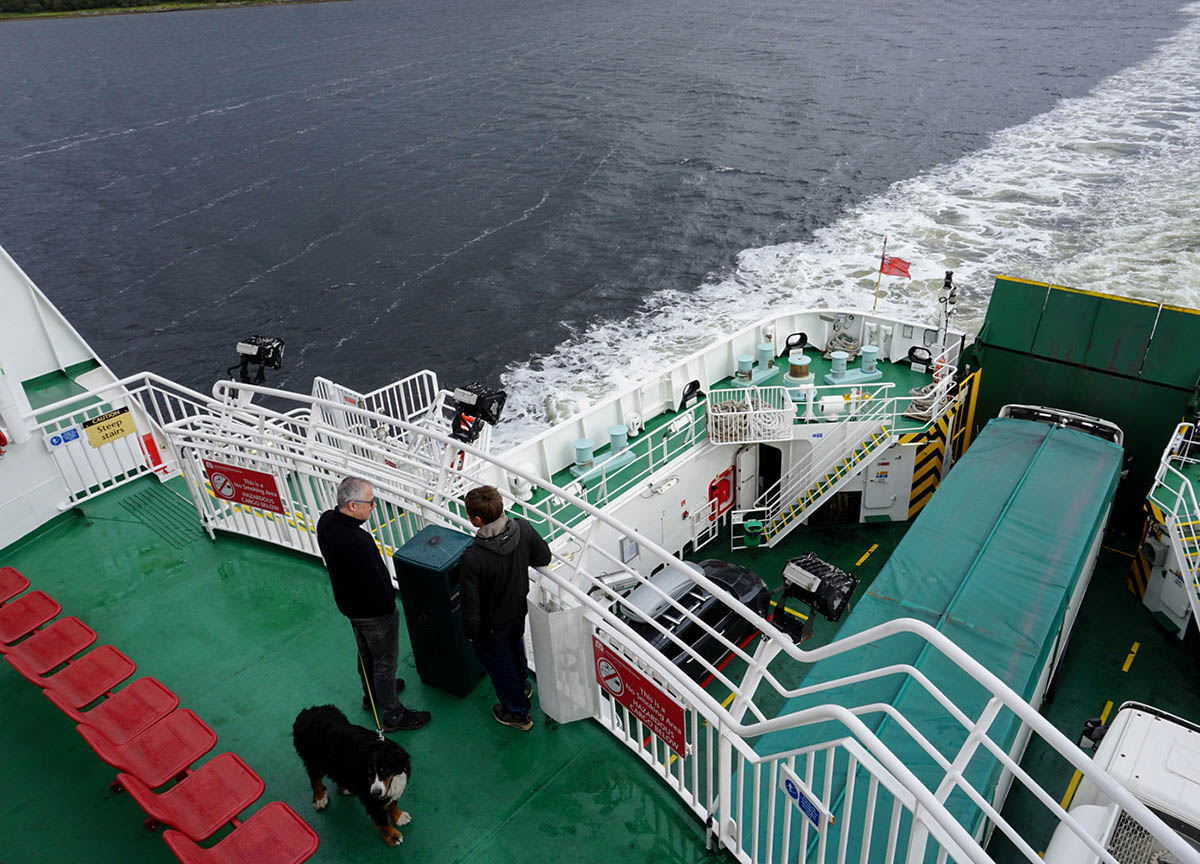 Upper Balcony of Kennacraig Ferry to Island of Islay in Scotland