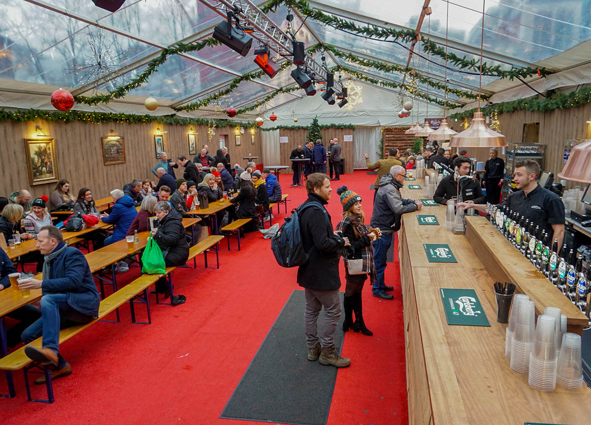 Day Time in Beer Tents at Belfast Christmas Market in Northern Ireland