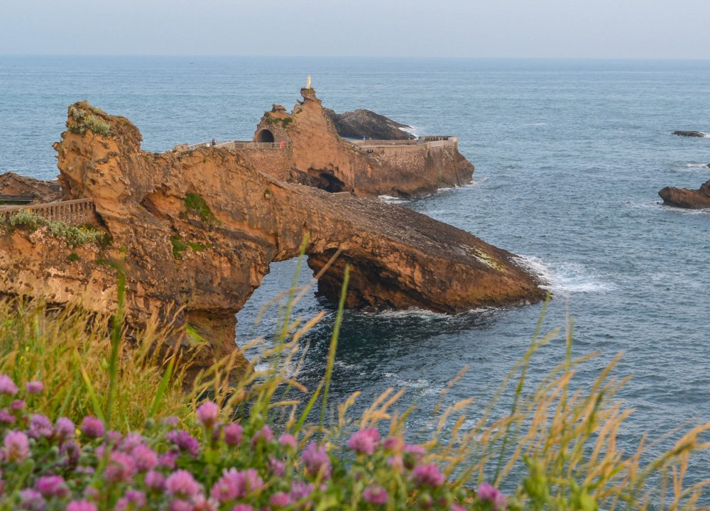 Rock of the virgin Mary in Biarritz Southern France.