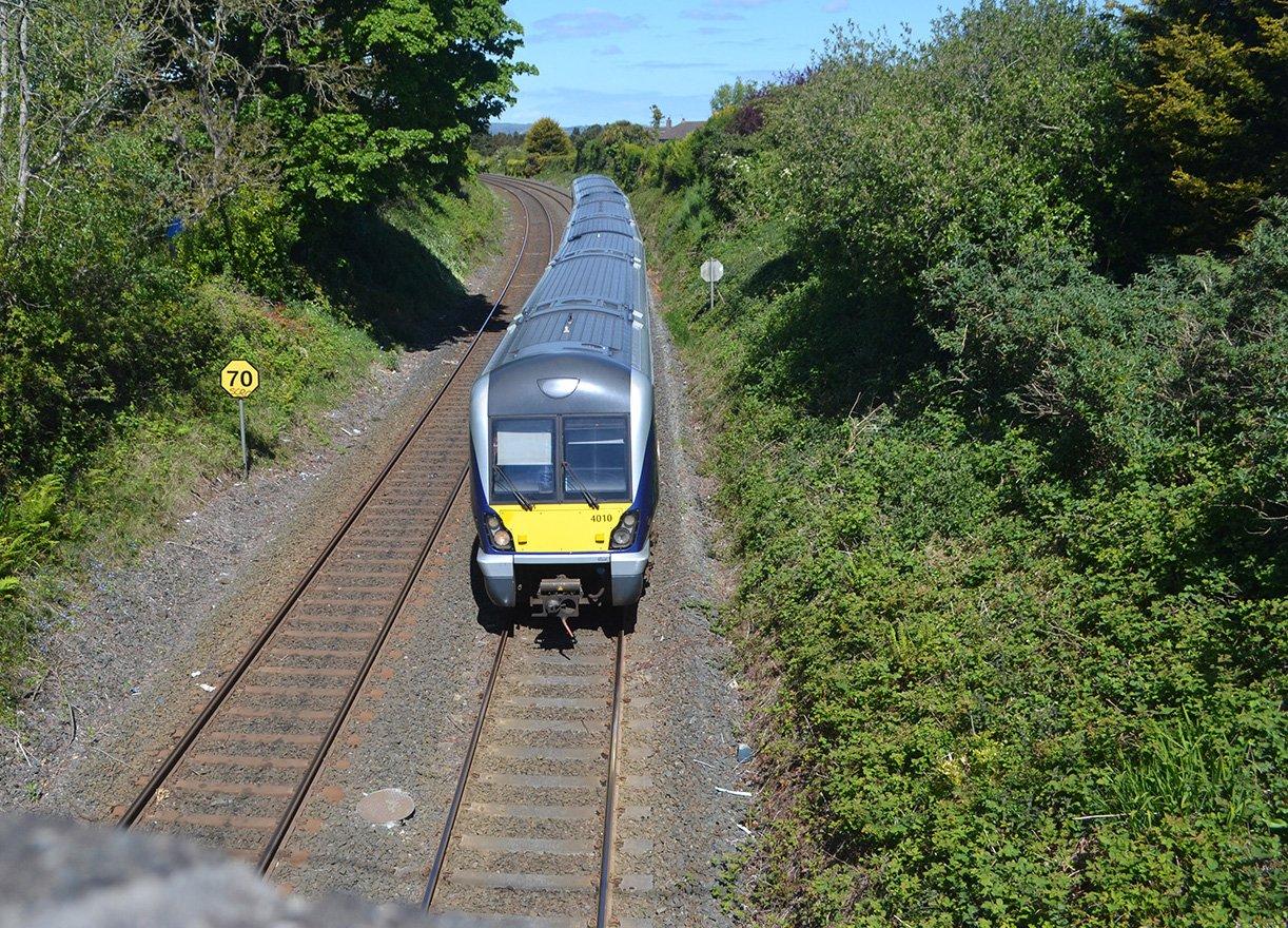 Belfast to Bangor Train arriving Bangor West Station Past Bryansburn