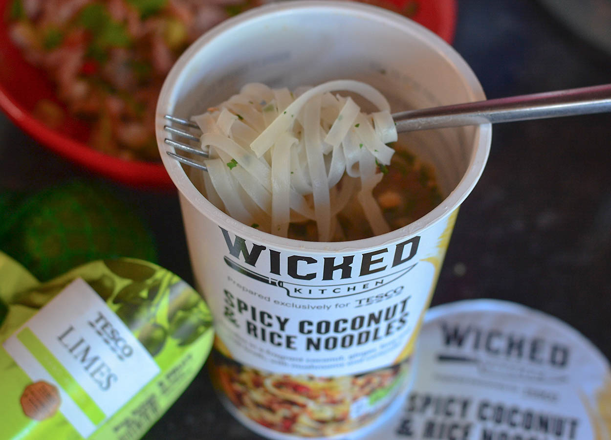 Tesco Wicked Kitchen Coconut Ginger Lime Chilli and Best Instant Rice Noodle Pots UK