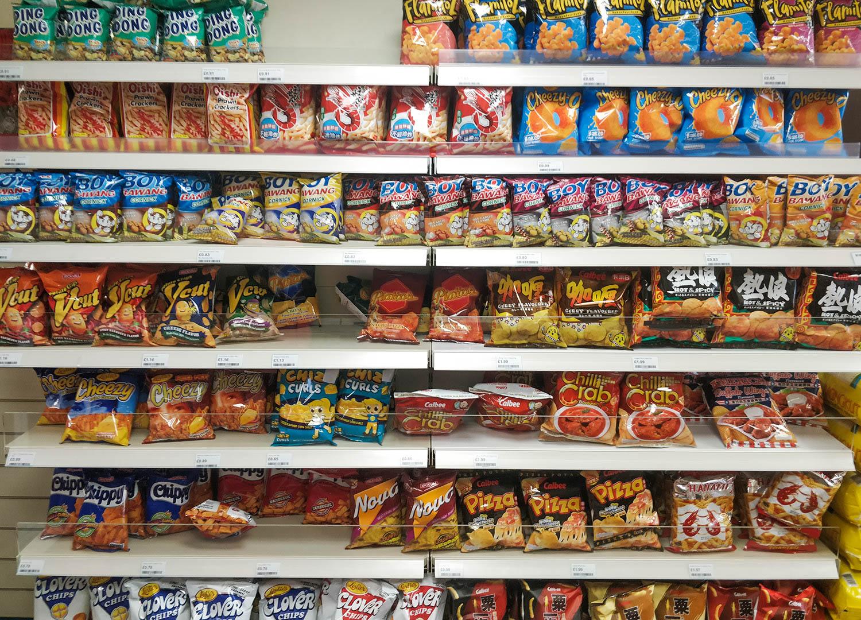 Asian Crisps and Potato Chips World Foods Asia Supermarket in Bangor Northern Ireland