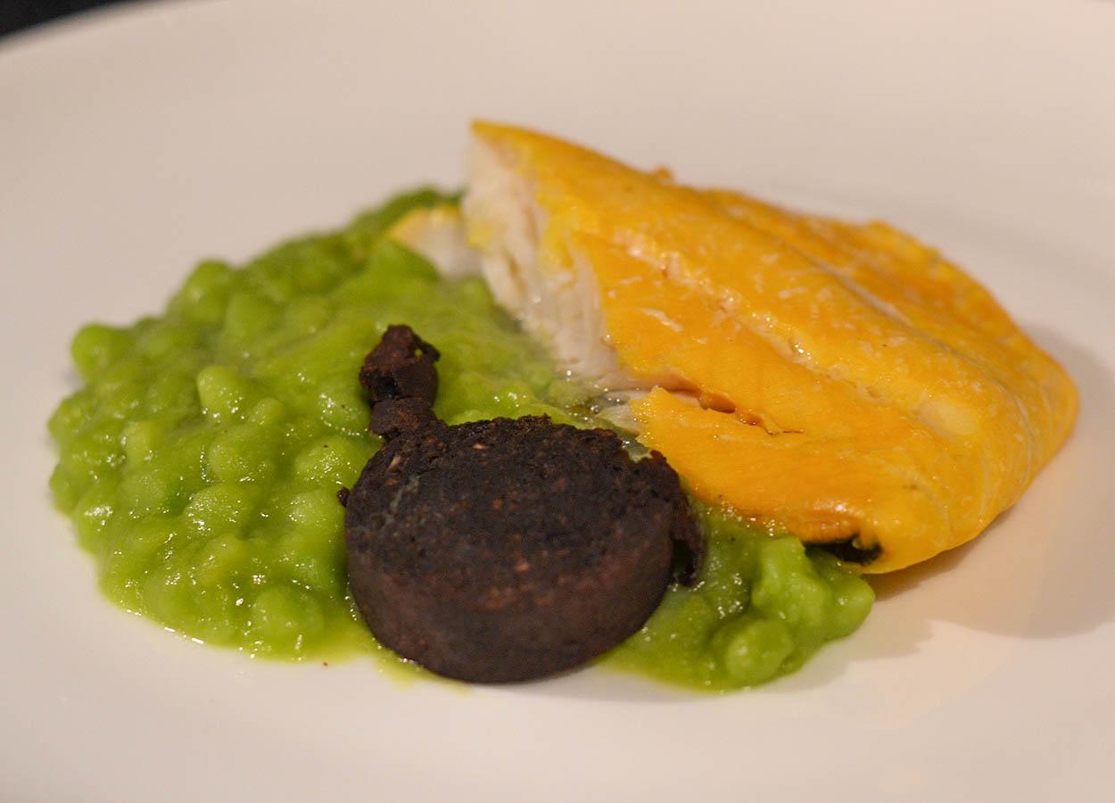 Scottish Smoked Haddock with Black Pudding and Mushy Peas