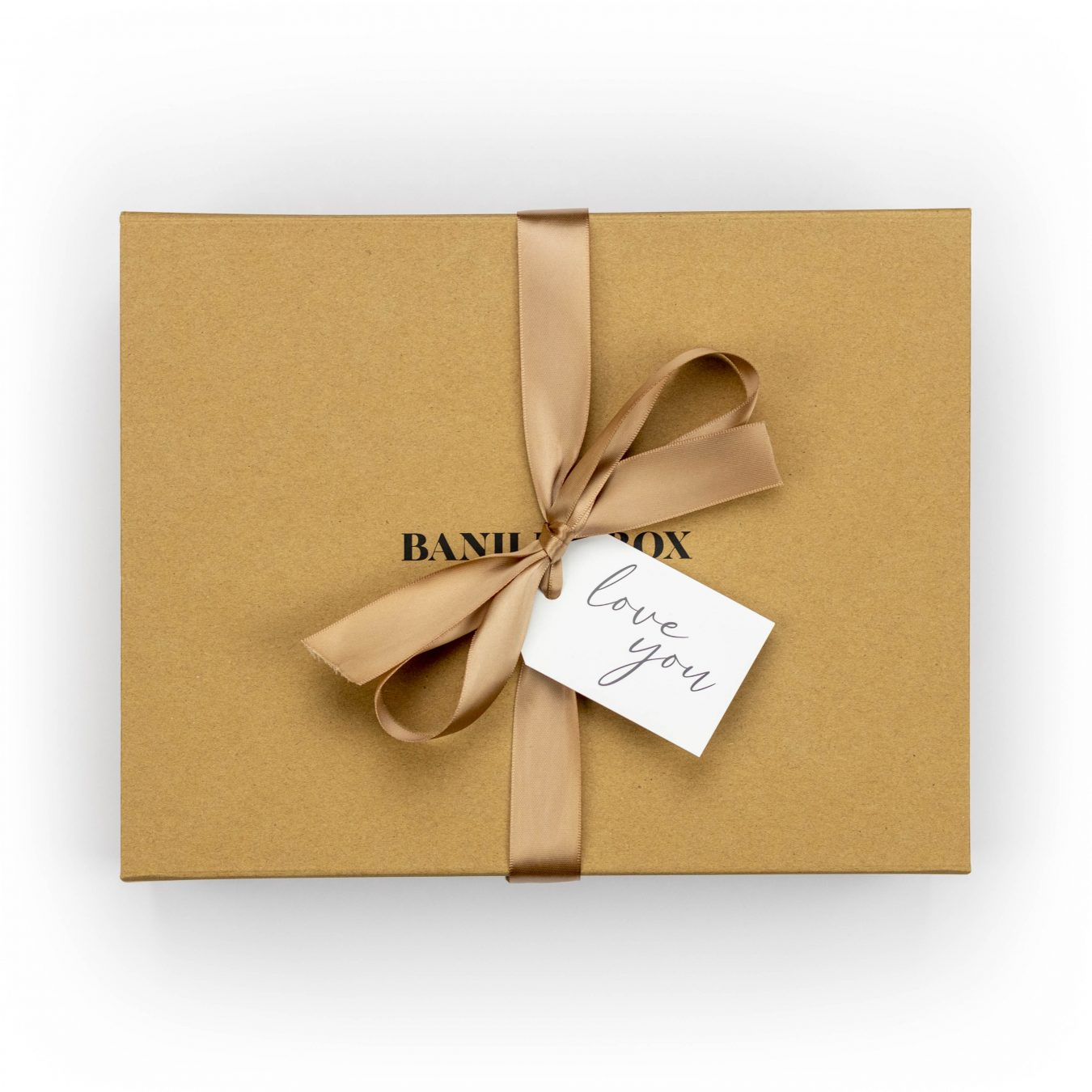 Banilla Box keepsake box in Kraft with gold ribbon