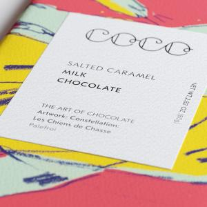 Coco Chocolatier Salted caramel front Label