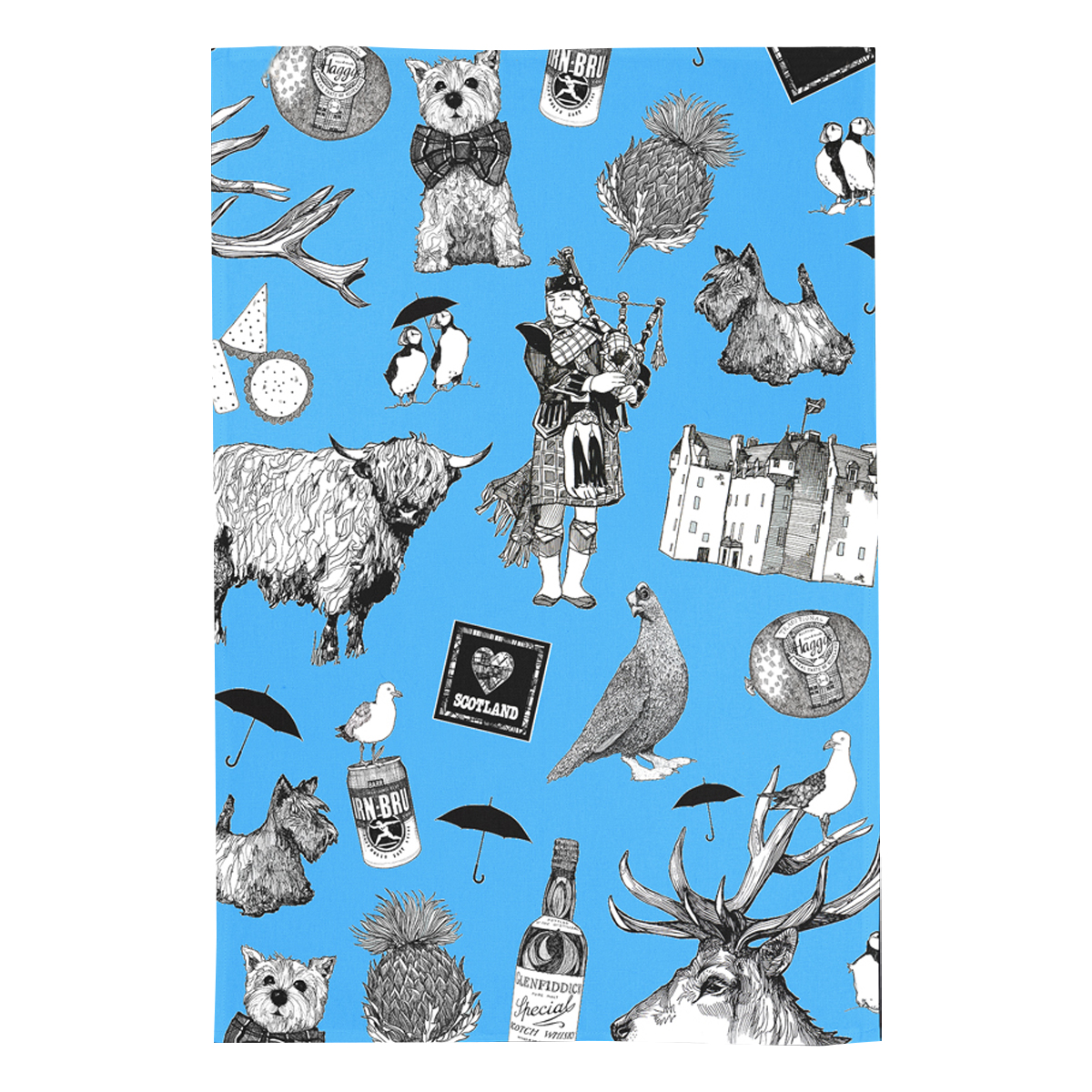 Blue tea towel from Gillian Kyle with Scottish imagery in black and white