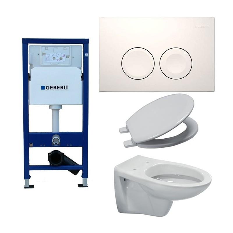 pack wc toilette suspendue complet touche blanche