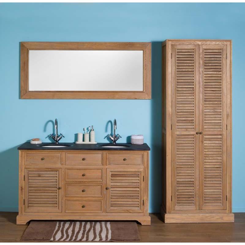 banio alain meuble de salle de bain avec grand miroir et colonne chene clair 150x55x86cm