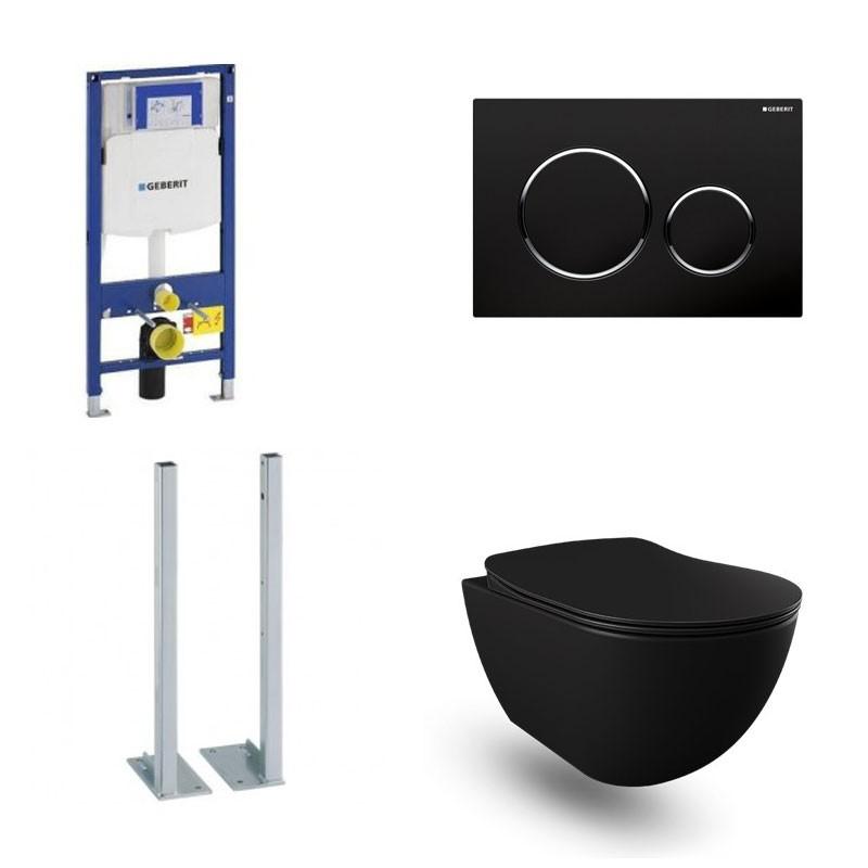 geberit autoportant pack banio design wc suspendu rimless noir mat avec duofix sigma et touche noir sigma20 complet