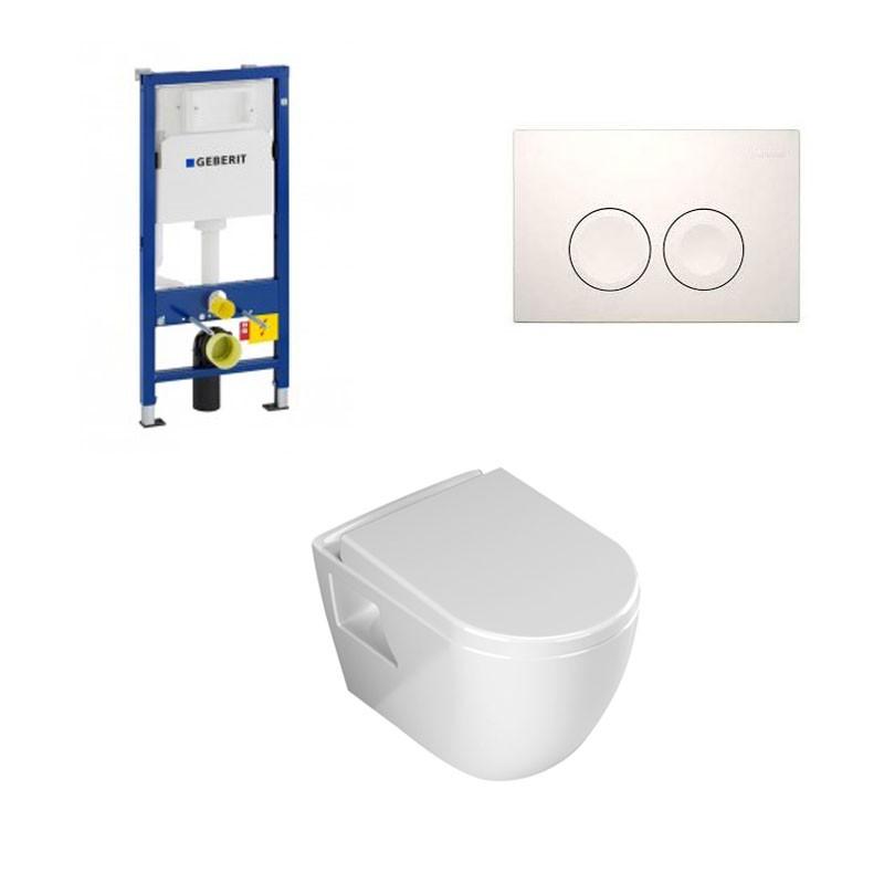 geberit duofix pack wc suspendu banio design avec abattant soft close et plaque de commande blanche