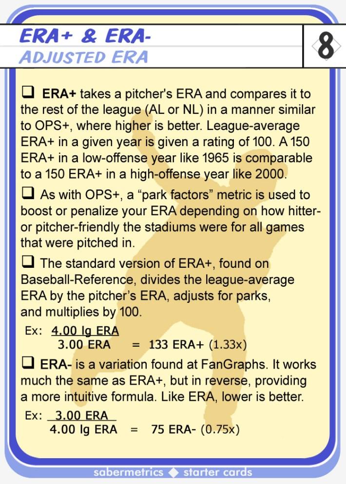 Sabermetrics Starter Baseball Cards - 08 - ERA+ description