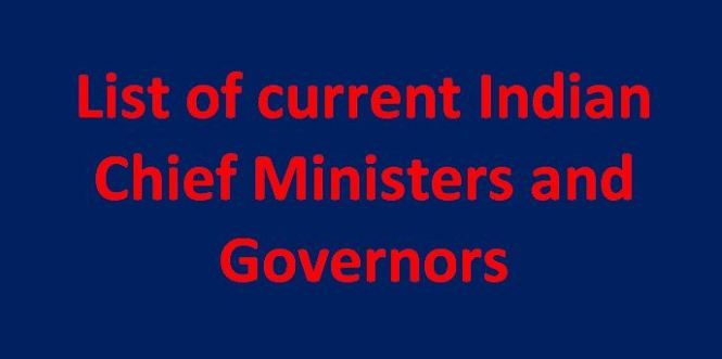 current Indian chief ministers and governors