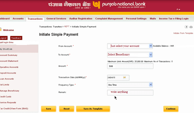 initiate Neft payment pnb