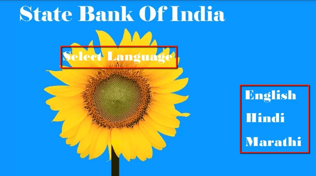 select language in sbi atm