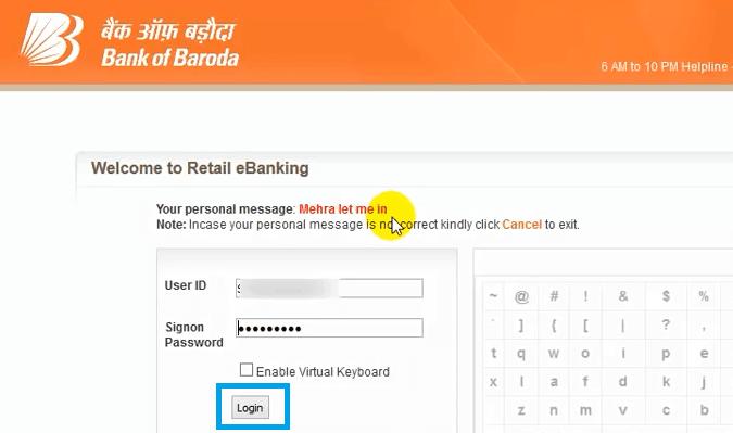 bank of baroda net banking login page
