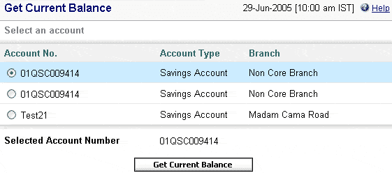 get sbh current account balance