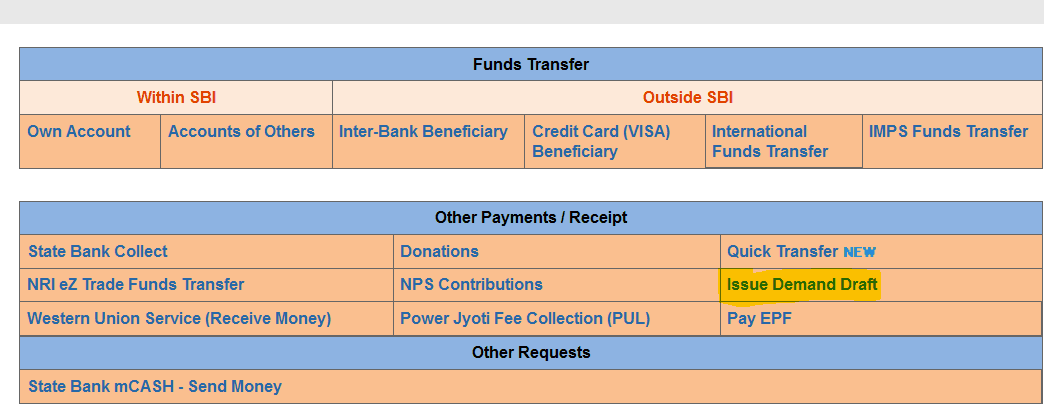 payment transfer tab sbi
