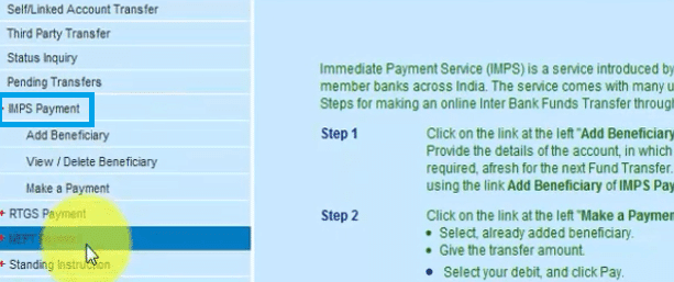 imps payment bank of india