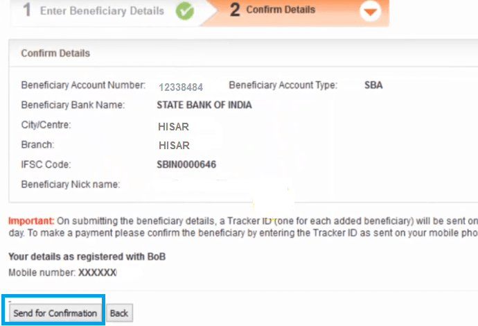 confirm beneficiary details