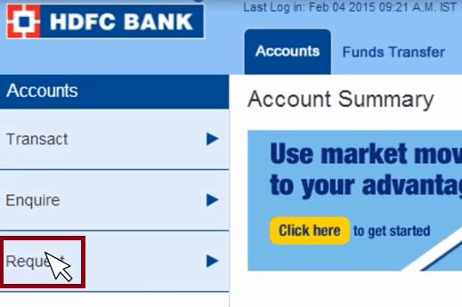 request link hdfc bank