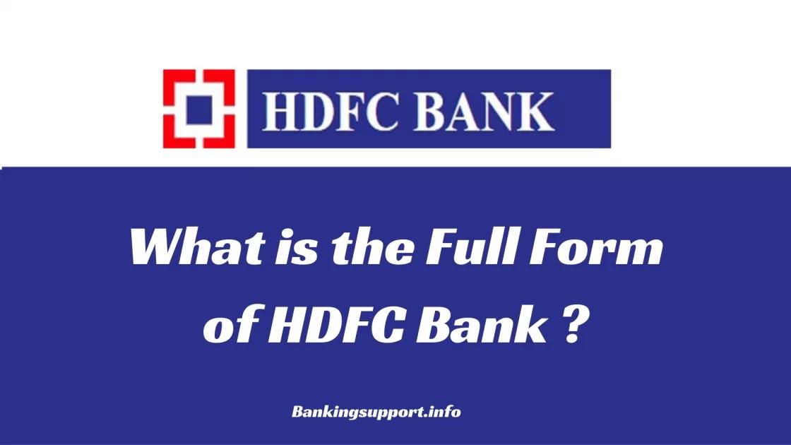 HDFC Full Form