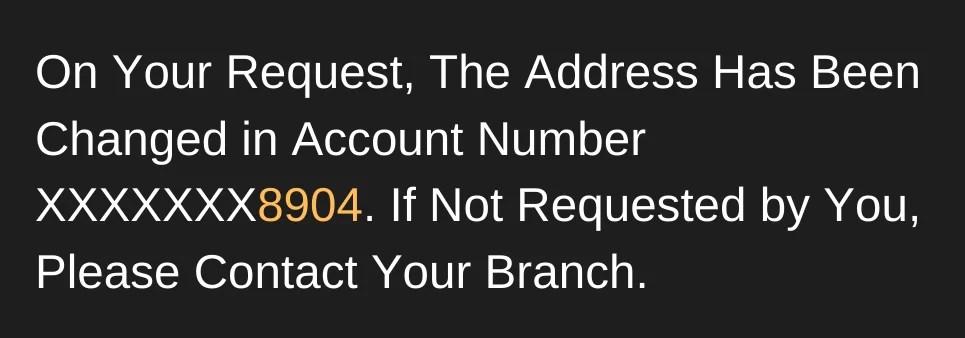 SBI Address Change Confirmation Message