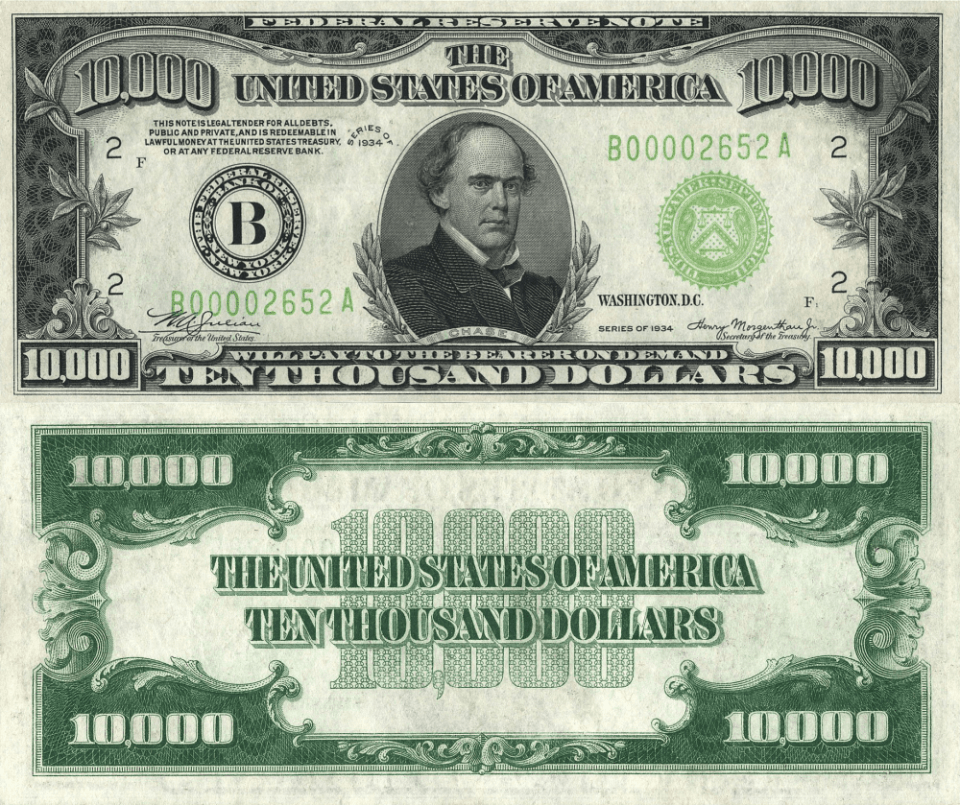 10,000 Dollars United States's Banknote