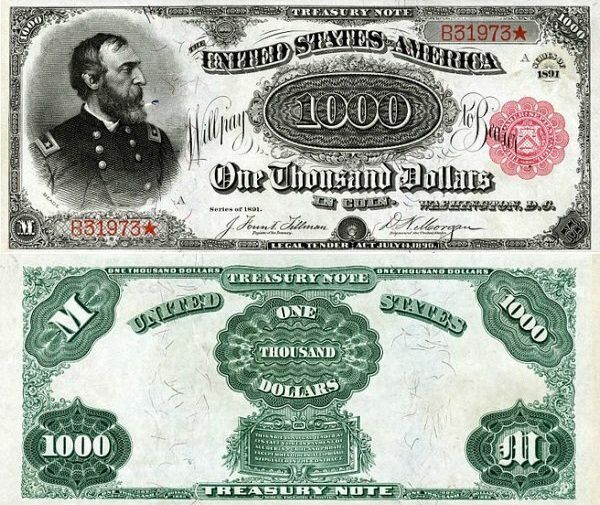 1,000 Dollars United States's Banknote