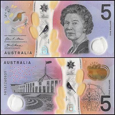 Australia Polymer Plastic Banknote 5 Dollars 2016 UNC