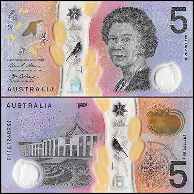 Australia 5 Dollars, 2016, P-63, UNC, Polymer, Queen Elizabeth II (QEII)