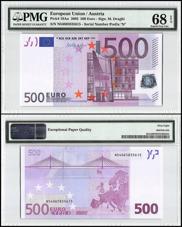 European Union (Austria) 500 Euro, 2002, P-19n, Prefix N, Bridges, Map, PMG 68