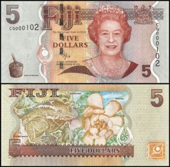 Fiji 5 dollars banknote featuring Queen Elizabeth II on the obverse with a Fijian crested Iguana and masiratu flower on the reverse