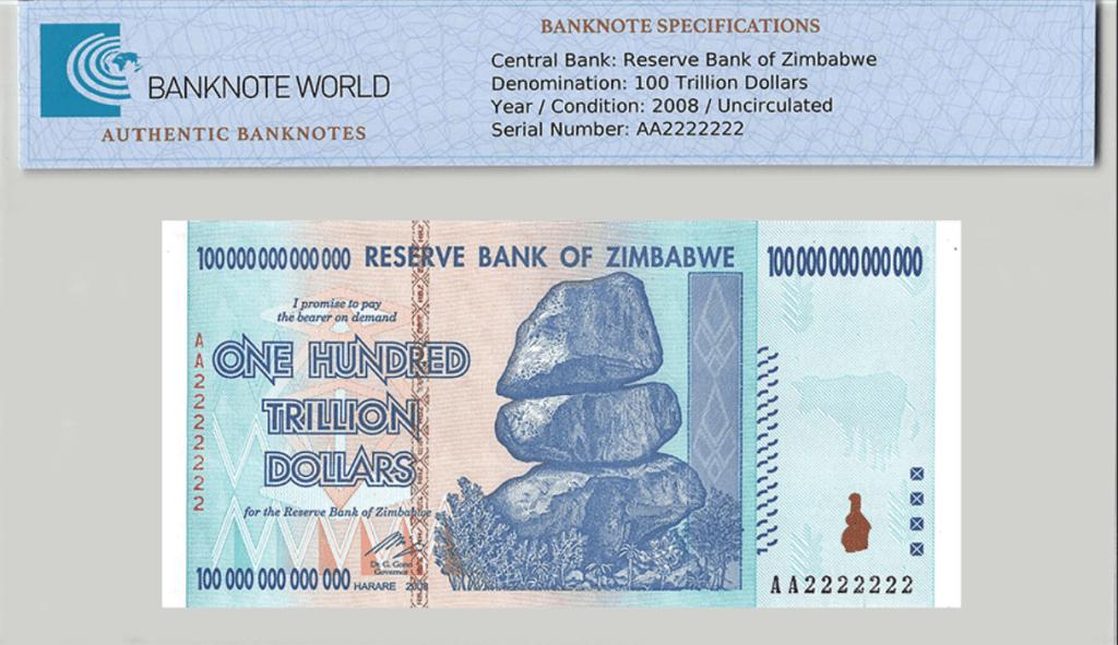 Zimbabwe 100 Trillion Dollars TAP Authenticated