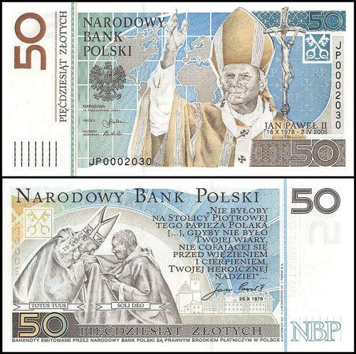 Poland 50 Zloty, 2006 featuring Pope John Paul II