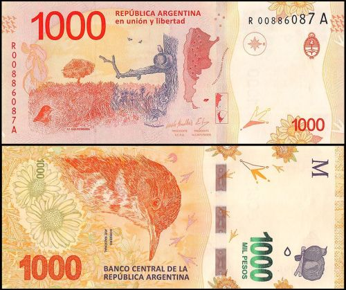Argentina 1,000 Pesos, 2018. Colored in bright orange featuring an open scenery and a bird in the front as the center of attention
