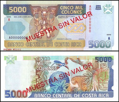 Costa Rica 5,000 Colones from the 90's. This banknote had a very new and different design