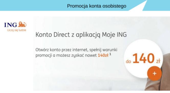 Premia za otwarcie konta w ING Banku Śląskim, od 100 zł do 140 zł.