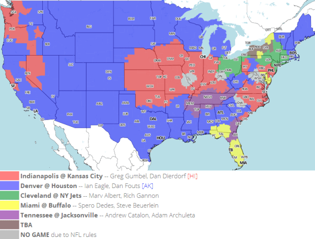 CBS 1pm Week 16 NFL TV Schedule