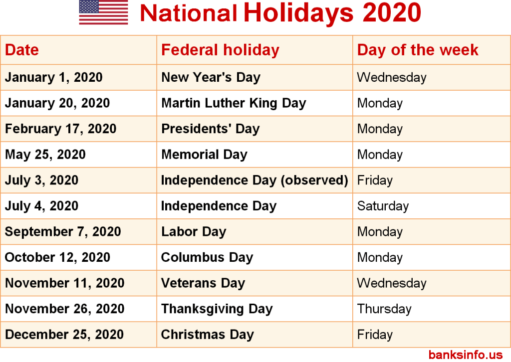 federal National holidays 2020