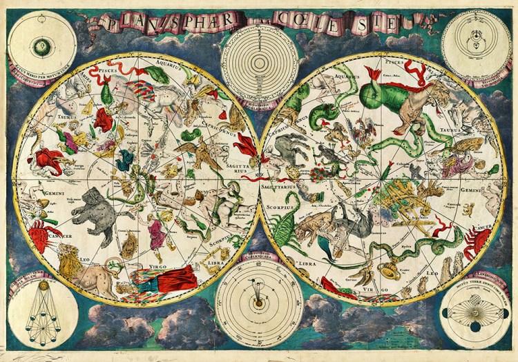 Astrologie, carte du ciel,atlas celeste, carte lune antique Banque de l'image