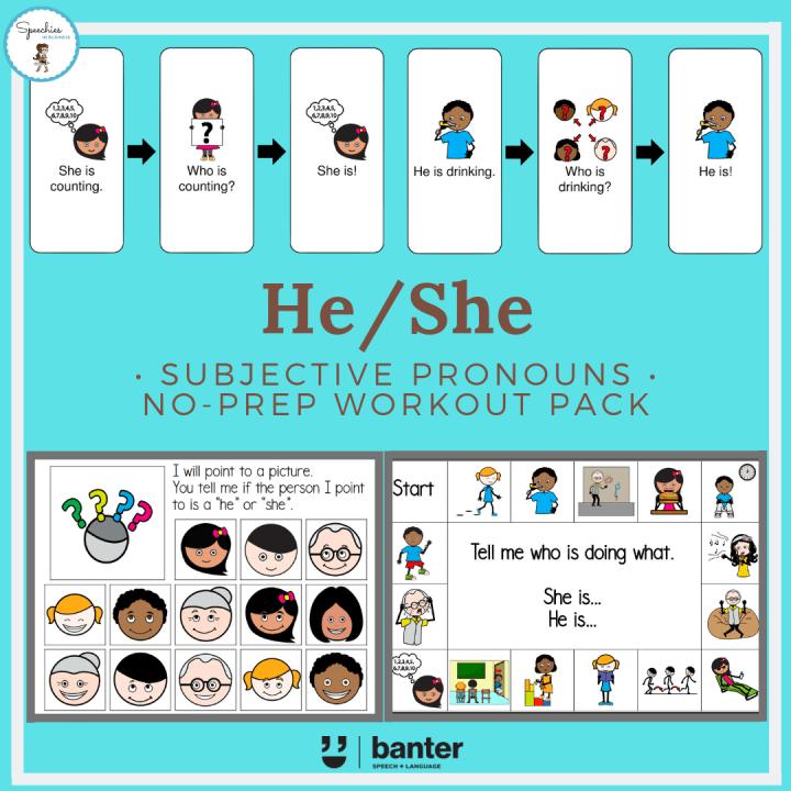 He/She Subjective Pronouns No Prep Workout Pack