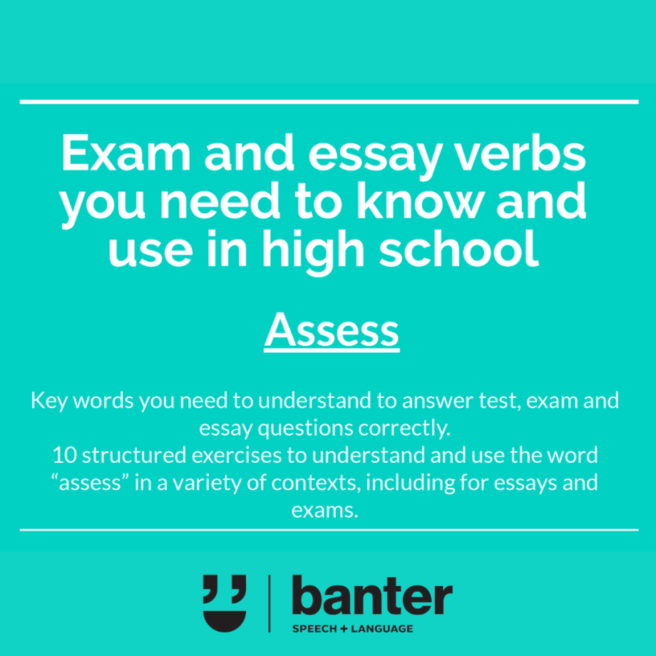 Assess Exam and essay verbs