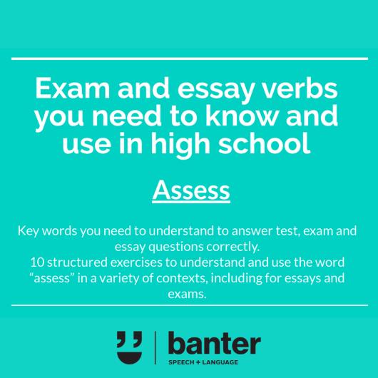 Assess Exam and essay verbs