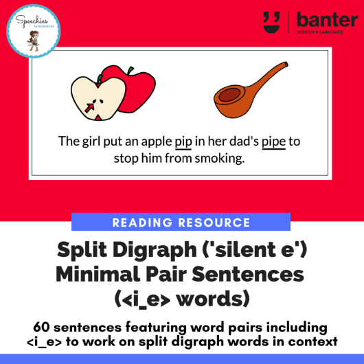 Reading Resource_ Split Digraph (_silent e_) Minimal Pair Sentence i e words