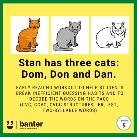 Stan has three cats: Early reading workout CVC CCVC CVCC