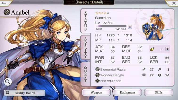 Another Eden RPG pantalla de status anabel