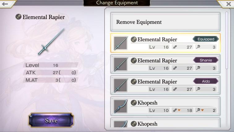 Another Eden RPG elemental rapier nivel 16