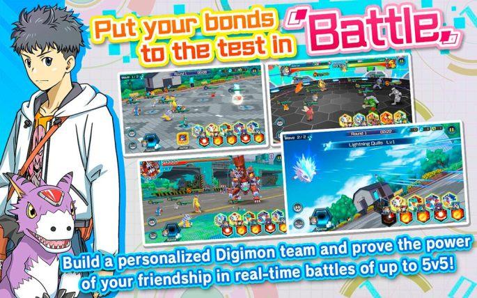 Pon tus lazos a test en las batallas de Digimon ReArise