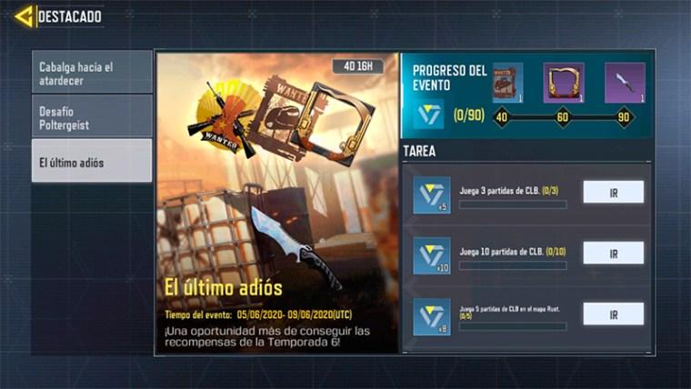 Completa las misiones de El Último Adiós y llévate el cuchillo Moonstone de Call of Duty Mobile.
