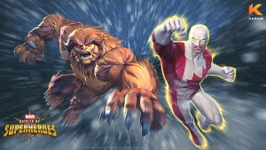 Guardian y Sasquatch en Marvel Batalla de Superhéroes